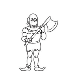 Outline of executor holding axe in hands is vector