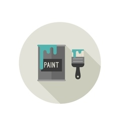 Paint brush and paint bucket vector