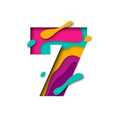Paper cut number seven 7 letter realistic 3d vector