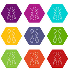 Pearl earrings icons set 9 vector