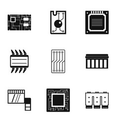 Processor icons set simple style vector
