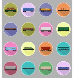 Railway transport flat icons 19 vector