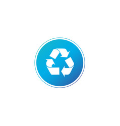 recycle icon in blue circle in trendy flat style vector image
