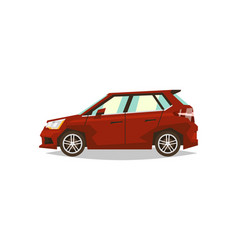 Red car hatchback side view transport for travel vector