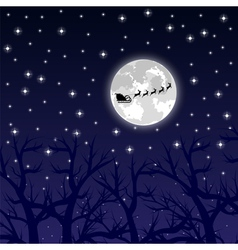 Santa Claus riding on a reindeer night vector