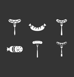 sausage icon set grey vector image