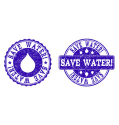 save water grunge stamp seals vector image