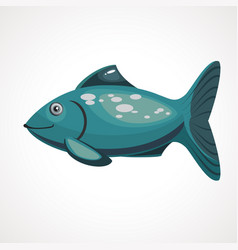 sea cartoon blue color fish with scales vector image