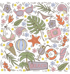 Seamless pattern with summer hand draw vector