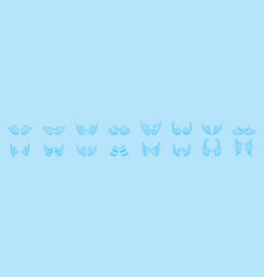 Set angle wings cartoon icon design template vector