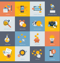 Set flat design concept icons for finance vector
