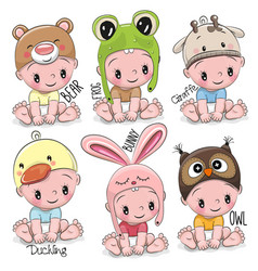 Set of cute cartoon babies vector