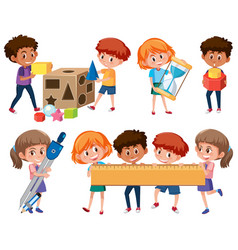 set of student learning math tools vector image
