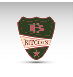 shield with symbol bitcoin vector image