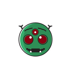 smiling alien cartoon face with three eyes people vector image