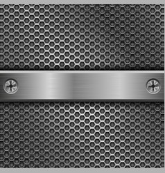 Steel long plate with screws on perforated vector