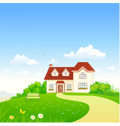 Summer cottage and garden vector