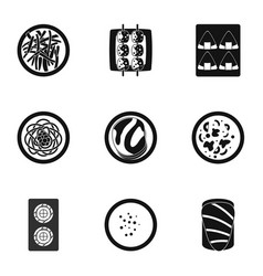 Sushi bar icons set simple style vector