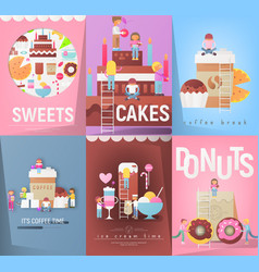 sweets and desserts posters set vector image