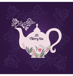 Teapot with berries vector