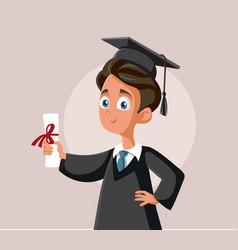 Teenage boy graduating school cartoon vector