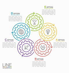Thin line circle infographic template with gears 5 vector