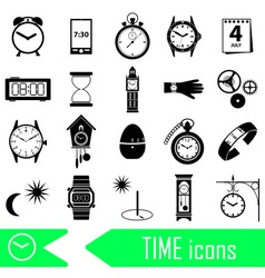 time theme modern simple icons set eps10 vector image