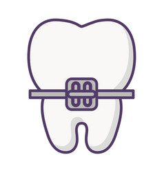 Tooth with bracket icon vector