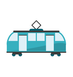 Train on rails sideview isolated vector