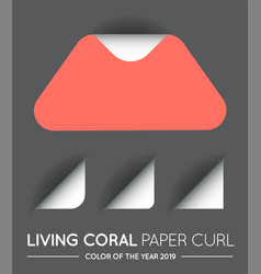 trendy color coral triangle with paper curl vector image