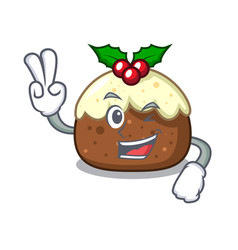 two finger fruit cake character cartoon vector image