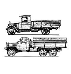 Two vintage car vector