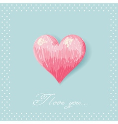Valentine sketch heart invitation postcard vector image vector image
