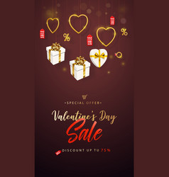 valentines day sale banner flyer poster cover vector image