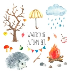 Watercolor autumn set vector