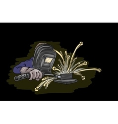 Welder isolated on black vector image