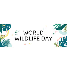 World wildlife day text among jungle vector