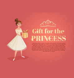 banner with beautiful girl cartoon with gift in vector image vector image