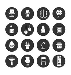 interior design white icons collection vector image vector image