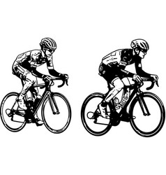 race bicyclists sketch vector image