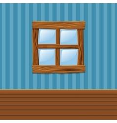 Cartoon Wooden old window Home Interior vector image