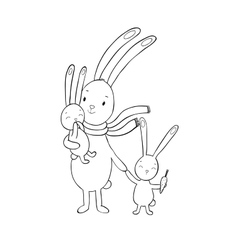 Family of cute cartoon rabbits Funny animals vector image vector image