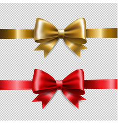 golden and red ribbon bows vector image vector image