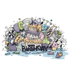greeting card birthday of the colored vector image