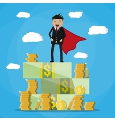 Happy businessman standing on pile of money vector image vector image