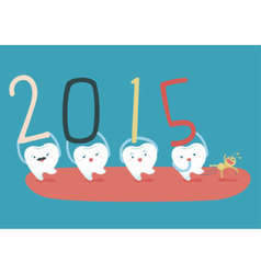 Happy new years of teeth vector image