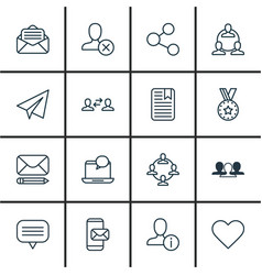 set of 16 social icons includes follow read vector image