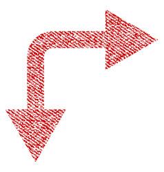bifurcation arrow right down fabric textured icon vector image vector image