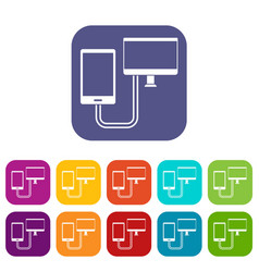 Connection phone icons set flat vector
