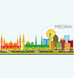 Medina skyline with color buildings and blue sky vector